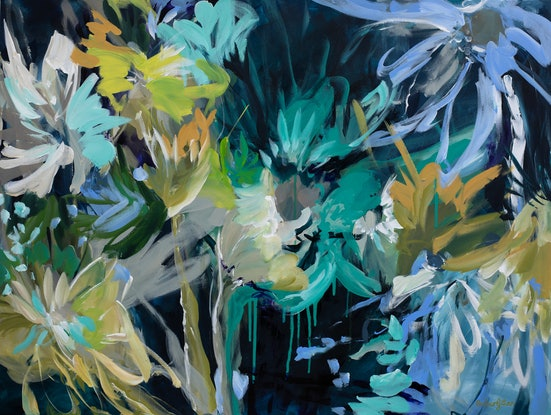 (CreativeWork) Nature Splash - Colourful Abstract Flowers by Amber Gittins. Acrylic Paint. Shop online at Bluethumb.