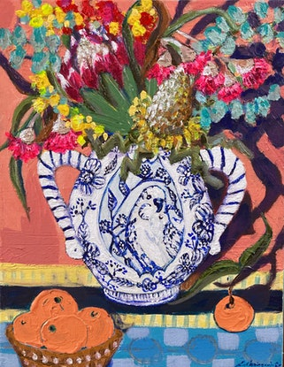 (CreativeWork) Pretty Boy Vase with flowers and clementines    by Emilie Maguin. Mixed Media. Shop online at Bluethumb.