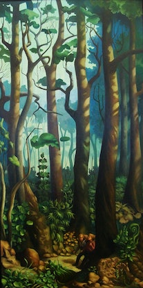 (CreativeWork) Edge of the Forest by Elizabeth Barsham. Oil. Shop online at Bluethumb.