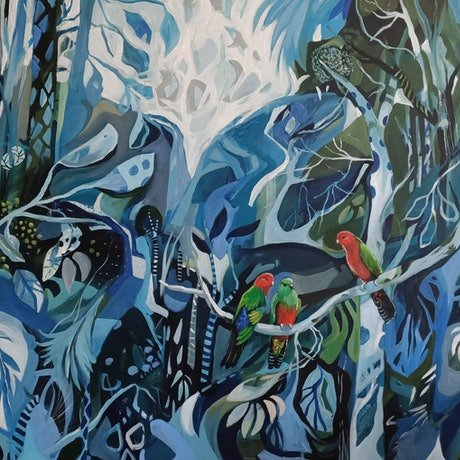 (CreativeWork) Abstract Landscape  - Courting King Parrots by Susan Trudinger. Acrylic Paint. Shop online at Bluethumb.