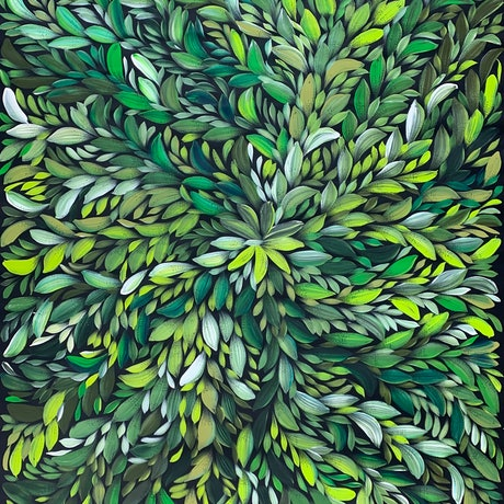 (CreativeWork) Bush Medicine Leaves - Green (wide) by Louise Numina. Acrylic Paint. Shop online at Bluethumb.