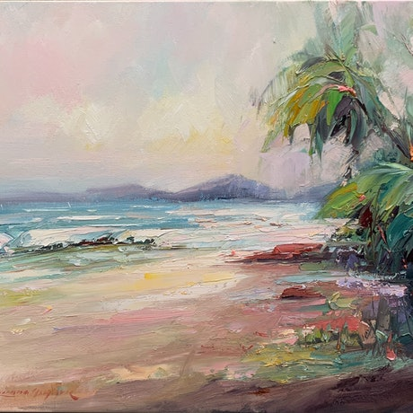 (CreativeWork) Palm Cove beach No 3 by Liliana Gigovic. Oil Paint. Shop online at Bluethumb.