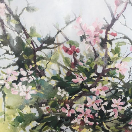 (CreativeWork) Reaching Out,Blossom. by Leanne Manns. Acrylic Paint. Shop online at Bluethumb.