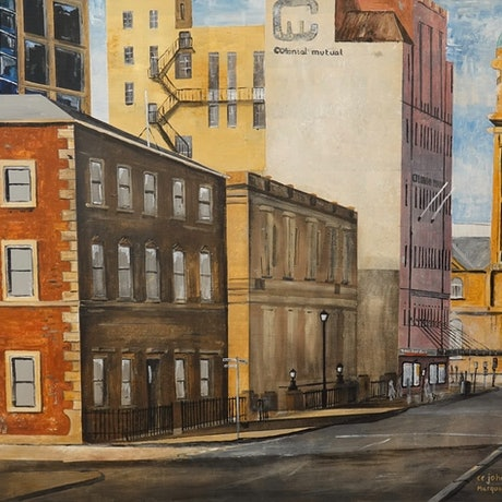 (CreativeWork) Macquarie Street, Hobart by Christopher Johnston. Acrylic Paint. Shop online at Bluethumb.