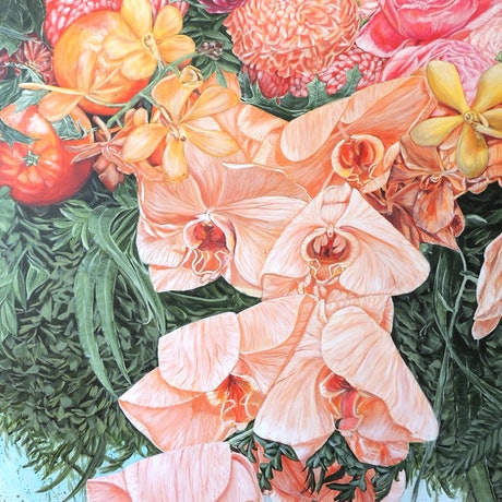 (CreativeWork) A LIFE TIME JOURNEY - Orchids, Oranges And Chrysanthemums - Limited Edition Giclee Print on Paper unframed { SALE} Ed. 44 of 100 by HSIN LIN. Print. Shop online at Bluethumb.