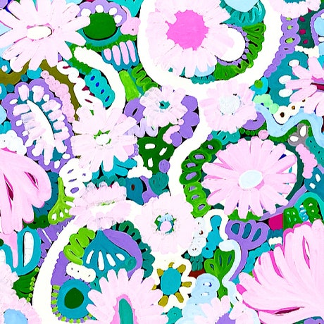 (CreativeWork) Pink Flowers   by Sarah Morrow. Acrylic Paint. Shop online at Bluethumb.