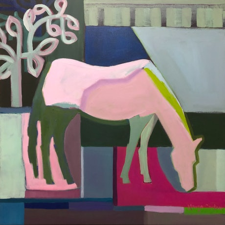 (CreativeWork) Horse in Yard with Blue by Margo Carlon. Acrylic Paint. Shop online at Bluethumb.