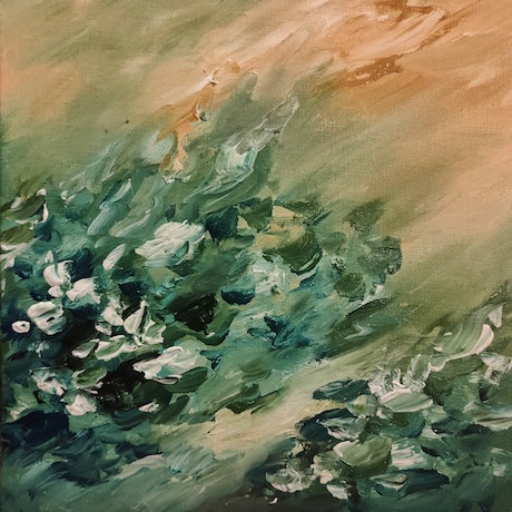 (CreativeWork) Hydrangea Breeze by Lucile Hibbsio. Oil Paint. Shop online at Bluethumb.