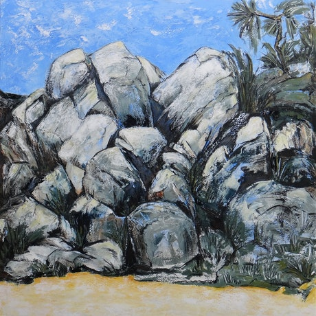 (CreativeWork) Boulders on the Beach - Magnetic Island  by Glenise Clelland. Acrylic Paint. Shop online at Bluethumb.