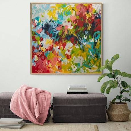 (CreativeWork) Whispering Rainbows - Large colourful abstract  by Amber Gittins. Acrylic Paint. Shop online at Bluethumb.