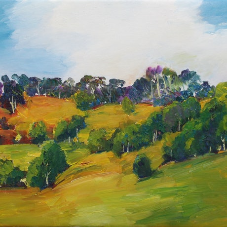 (CreativeWork) Mary Valley Hills by Glenn Miller. Oil. Shop online at Bluethumb.