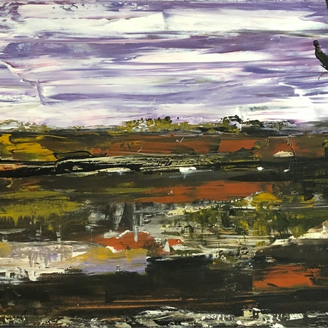 (CreativeWork) Mighty Murray River - textured knife painting by Tina Barr. Acrylic Paint. Shop online at Bluethumb.