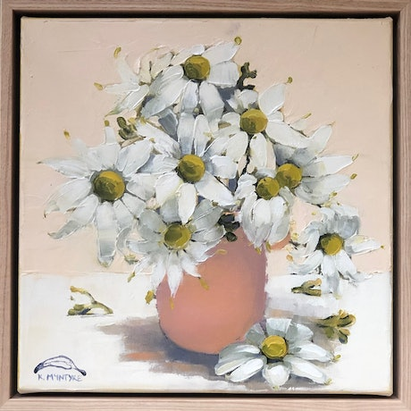 (CreativeWork) Flannel flowers in salmon pink vase (33cm framed) by kirsty mcintyre. Oil Paint. Shop online at Bluethumb.