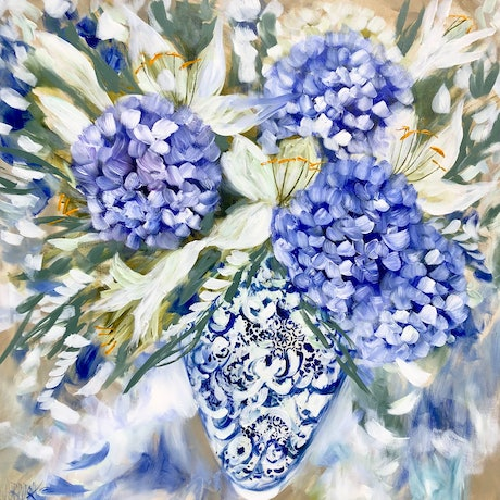 (CreativeWork) Fragrant white lily and hydrangea  by Amanda Brooks. Acrylic Paint. Shop online at Bluethumb.