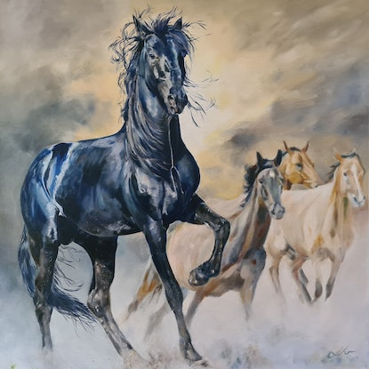 (CreativeWork) Mine by Jo S. Stacey. Oil Paint. Shop online at Bluethumb.