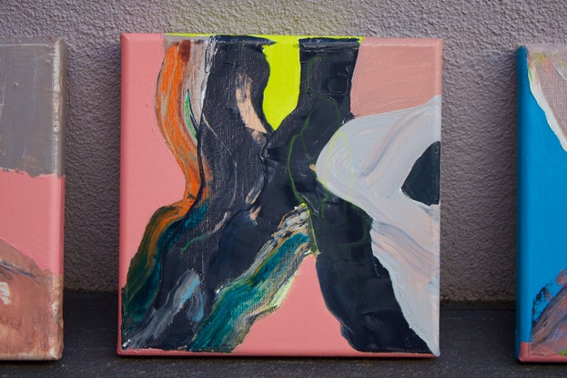 (CreativeWork) Pink, Black and Cadmium Chartreuse by Kim Leutwyler. Oil. Shop online at Bluethumb.