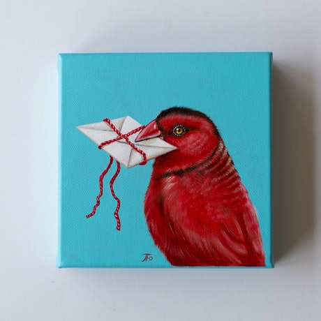 (CreativeWork) In Red | Love Letters series | miniature surrealism by Yulia Pustoshkina. Oil Paint. Shop online at Bluethumb.