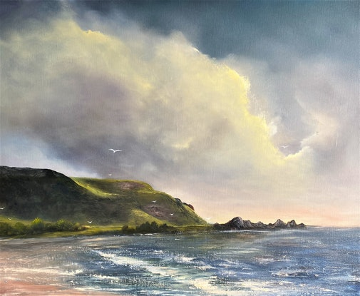(CreativeWork) High Tide At Godfrey's by Elaine Green. Oil Paint. Shop online at Bluethumb.