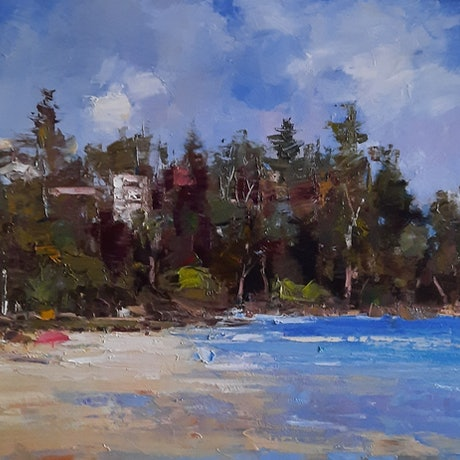 (CreativeWork) Morning at Kings Beach. Caloundra. Qld by Barry Back. Oil Paint. Shop online at Bluethumb.