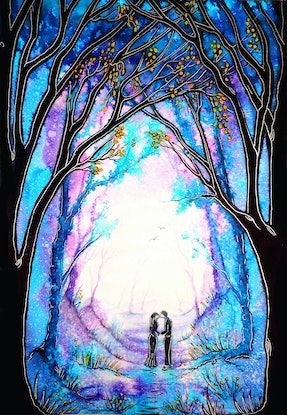 (CreativeWork) First Kiss (Framed) by Linda Callaghan. Watercolour Paint. Shop online at Bluethumb.