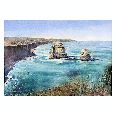 (CreativeWork) The Great Ocean Road by Scott (Shi) Guo. Watercolour Paint. Shop online at Bluethumb.