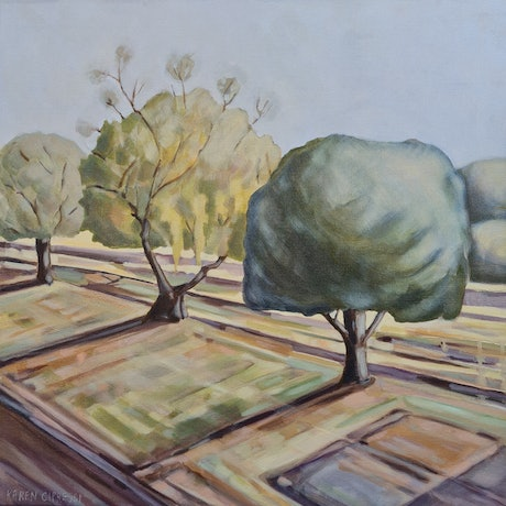 (CreativeWork) Dusk at the Railway Siding #2 by Karen Cipressi. Oil Paint. Shop online at Bluethumb.