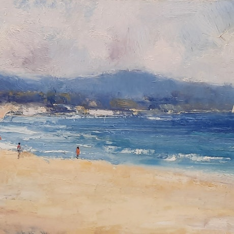 (CreativeWork) Afternoon Swim. Mudjimba Beach. Qld by Barry Back. Oil Paint. Shop online at Bluethumb.