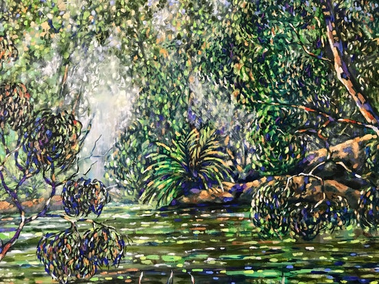 (CreativeWork) Morning due on the billabong  by sue bannister. Oil Paint. Shop online at Bluethumb.