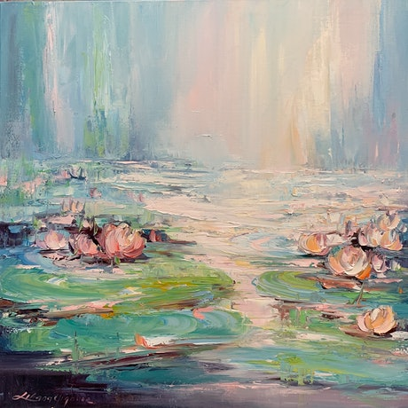 (CreativeWork) Water lilies No 52 by Liliana Gigovic. Oil Paint. Shop online at Bluethumb.