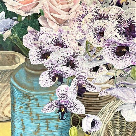 (CreativeWork) A Life Time Story - Orchids and Roses on Wood Tray With A Weaving  Basket  by HSIN LIN. Acrylic Paint. Shop online at Bluethumb.