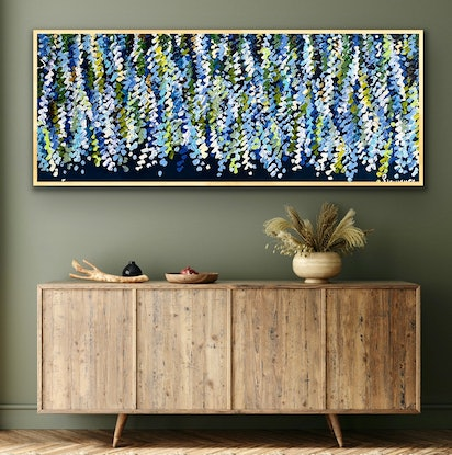 (CreativeWork) Night wisteria 157x66 framed large textured abstract floral by Sophie Lawrence. Acrylic Paint. Shop online at Bluethumb.