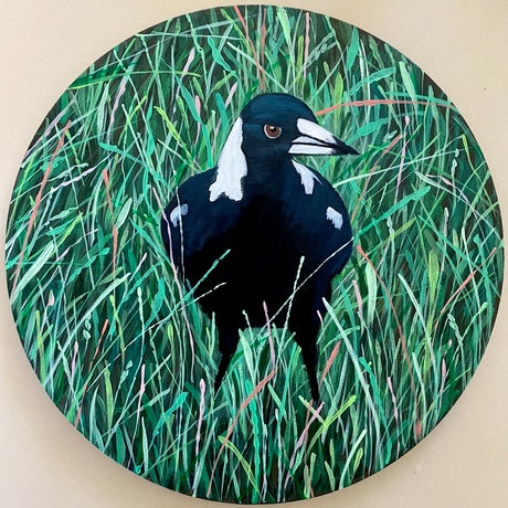 (CreativeWork) Magpie One in the Round by Andrea Leaver. Acrylic Paint. Shop online at Bluethumb.