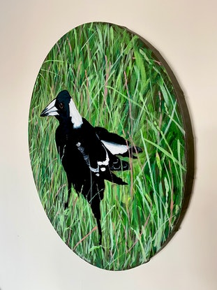 (CreativeWork) Magpie Two in the Round by Andrea Leaver. Acrylic Paint. Shop online at Bluethumb.