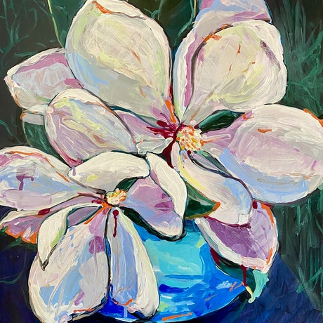 (CreativeWork) Sweet Magnolias by Andrea Leaver. Acrylic Paint. Shop online at Bluethumb.