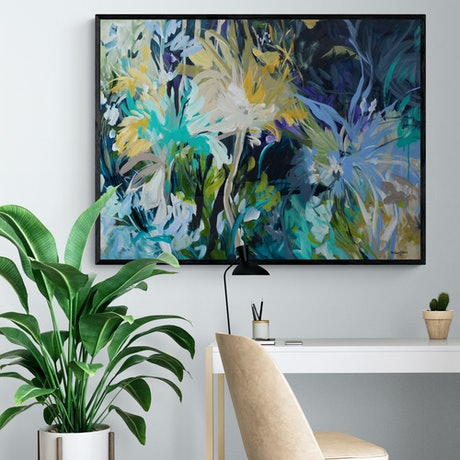 (CreativeWork) Deep Connections - Large Modern Abstract Painting by Amber Gittins. Acrylic Paint. Shop online at Bluethumb.