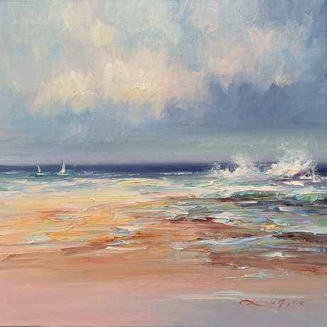 (CreativeWork) Colours of the ocean No 12 by Liliana Gigovic. Oil Paint. Shop online at Bluethumb.