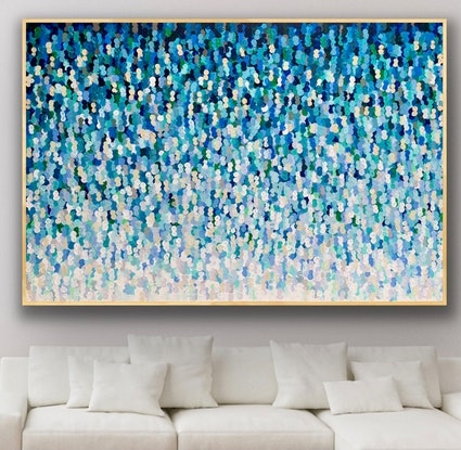 (CreativeWork) Sapphire 187x127 framed large abstract  by Sophie Lawrence. Acrylic Paint. Shop online at Bluethumb.
