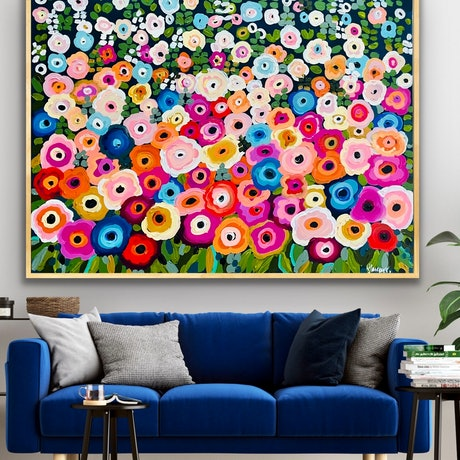 (CreativeWork) St. George's court garden 126x96 framed large abstract landscape by Sophie Lawrence. Acrylic Paint. Shop online at Bluethumb.
