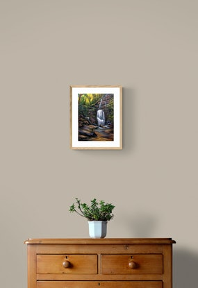(CreativeWork) Hidden waterfall, Blue Mountains by Christopher Vidal. Oil. Shop online at Bluethumb.