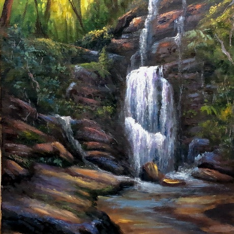 (CreativeWork) Hidden waterfall, Blue Mountains by Christopher Vidal. Oil Paint. Shop online at Bluethumb.