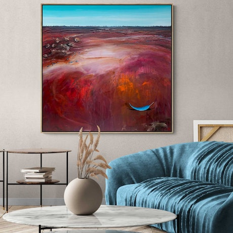 (CreativeWork) Red River Blue Gum 102X102cm Large Textured Abstract Landscape by Tania Chanter. Acrylic Paint. Shop online at Bluethumb.