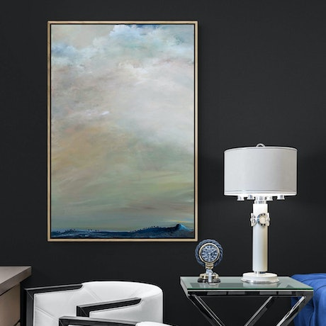 (CreativeWork) Above The Blue Hills 61 X 92cm  Medium Abstract Cloudscape by Tania Chanter. Acrylic Paint. Shop online at Bluethumb.