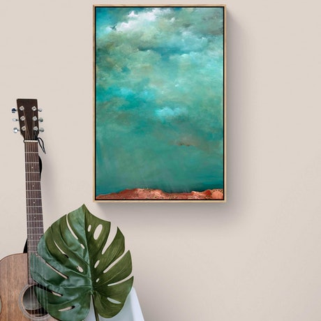 (CreativeWork) Above The Dry Land 61 X 92cm  Medium Abstract Cloudscape  by Tania Chanter. Acrylic Paint. Shop online at Bluethumb.
