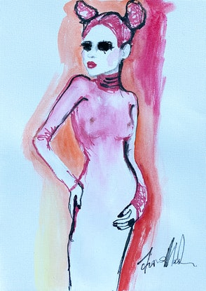 (CreativeWork) Pink dancer by Fiona Maclean. Watercolour. Shop online at Bluethumb.