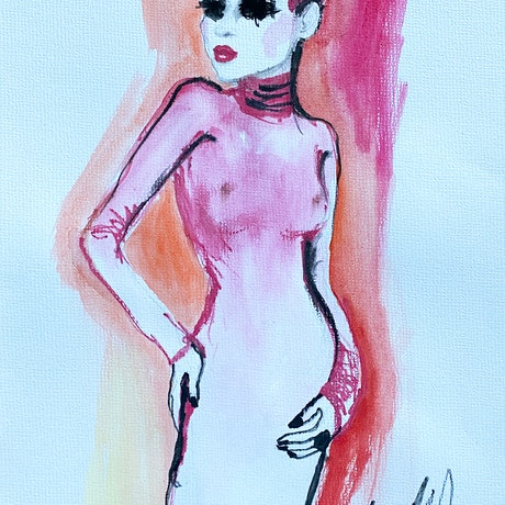 (CreativeWork) Pink dancer by Fiona Maclean. Watercolour Paint. Shop online at Bluethumb.