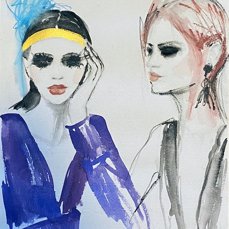 (CreativeWork) Daydreamers by Fiona Maclean. Watercolour Paint. Shop online at Bluethumb.