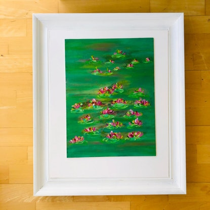(CreativeWork) Lilies in Green 2 by Shabs Beigh. Acrylic. Shop online at Bluethumb.