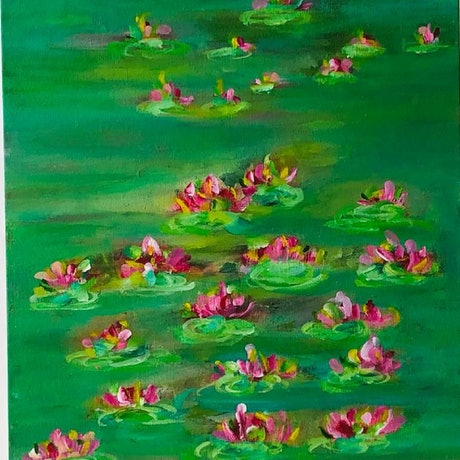 (CreativeWork) Lilies in Green 2 by Shabs Beigh. Acrylic Paint. Shop online at Bluethumb.