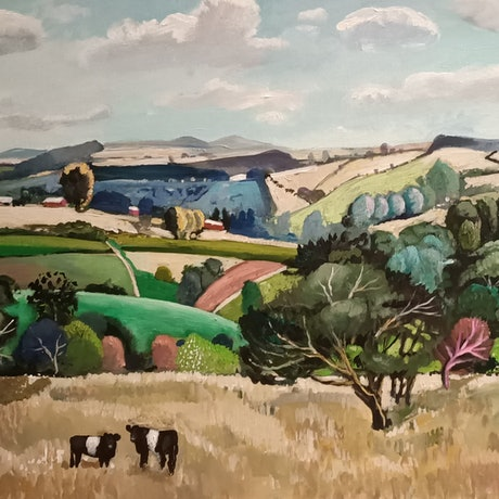 (CreativeWork) Landscape  - The Cow Paddock by Susan Trudinger. Acrylic Paint. Shop online at Bluethumb.