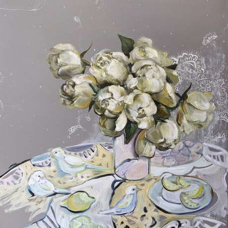 (CreativeWork) Still Life with White Roses and Canaries by Katerina Apale. Oil Paint. Shop online at Bluethumb.